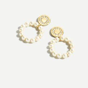 J. Crew Pearl Hoop Coin Earrings